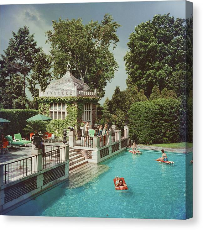 Swimming Pool Canvas Print featuring the photograph Family Pool by Slim Aarons