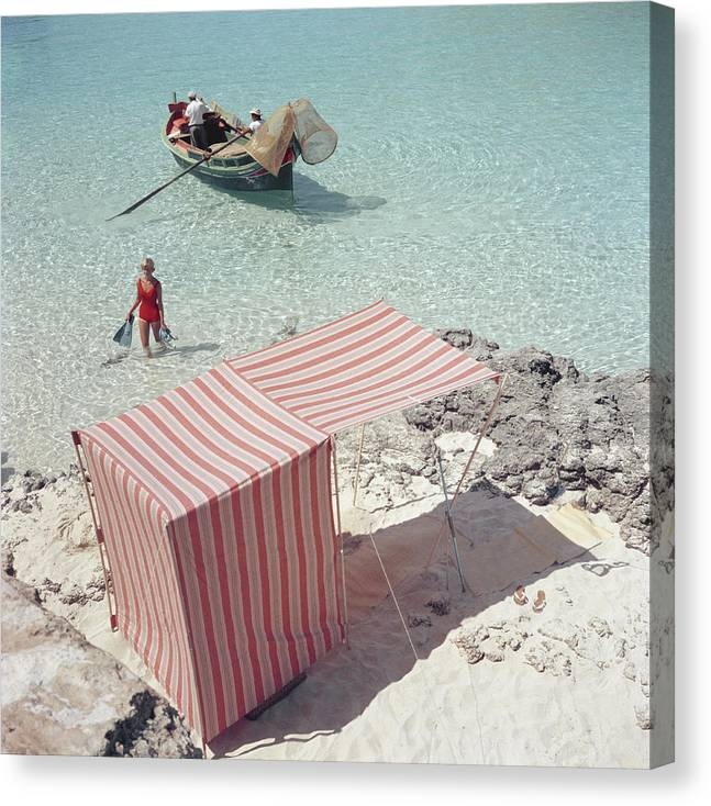 People Canvas Print featuring the photograph Marietine Birnie, Blue Lagoon by Slim Aarons
