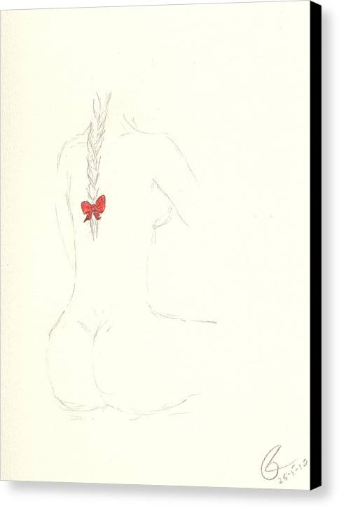 Girl Canvas Print featuring the drawing Red Ribbon by Paolo Marini