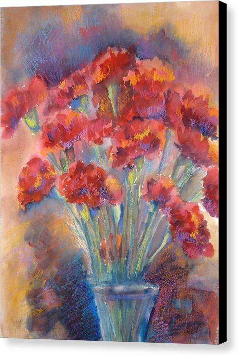 Flowers Canvas Print featuring the painting Carnations by Joyce Kanyuk