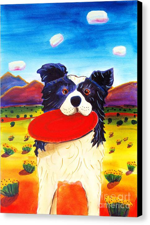 Dog Canvas Print featuring the painting Frisbee Dog by Harriet Peck Taylor