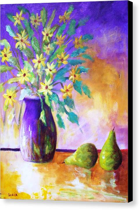 Moonbeam Flowers. Vases. Semi-absrtact. Print. Canvas Print featuring the print Moonbeams by Carl Lucia