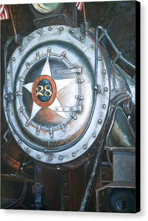 Train Canvas Print featuring the painting No. 28 In The Shed by Gary Symington