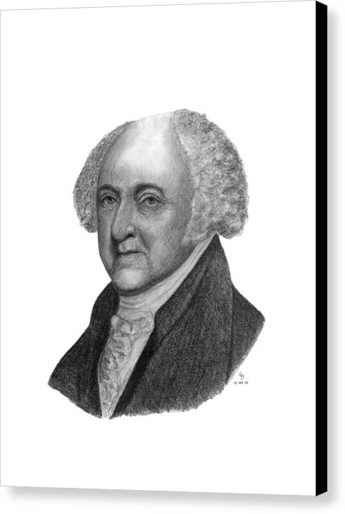 President Canvas Print featuring the drawing President John Adams by Charles Vogan