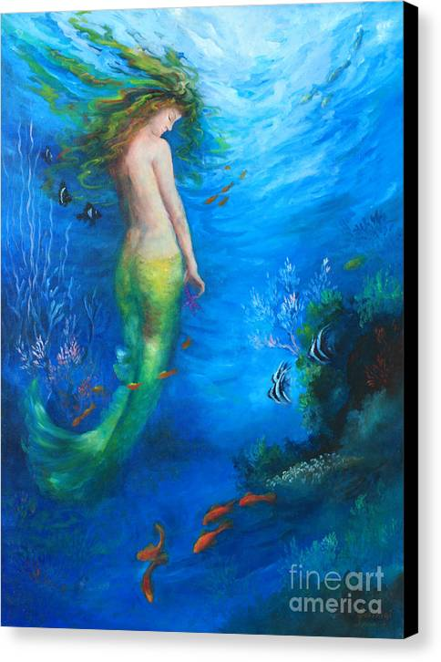 Mermaid Canvas Print featuring the painting To The Surface by Gail Salitui