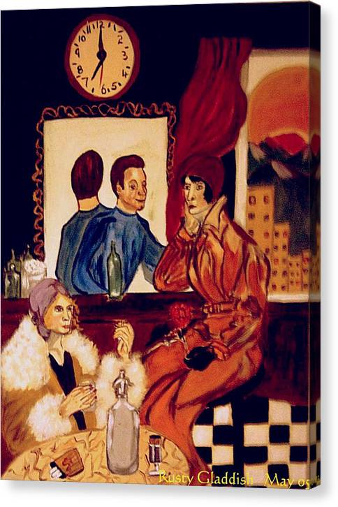 1920s Canvas Print featuring the painting Barflies by Rusty Gladdish