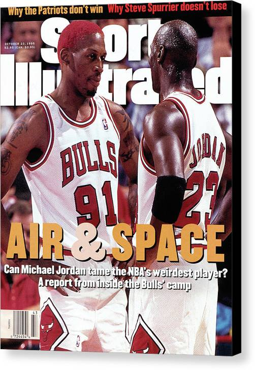 Chicago Bulls Canvas Print featuring the photograph Chicago Bulls Dennis Rodman And Michael Jordan Sports Illustrated Cover by Sports Illustrated