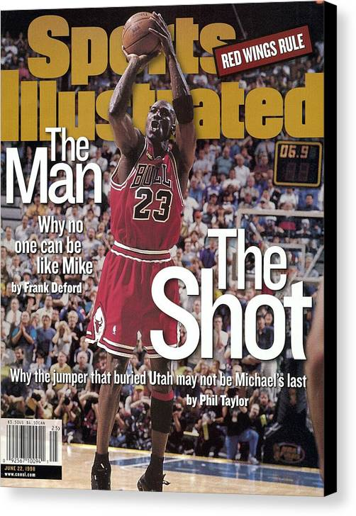 Magazine Cover Canvas Print featuring the photograph Chicago Bulls Michael Jordan, 1998 Nba Finals Sports Illustrated Cover by Sports Illustrated