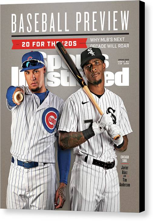 Magazine Cover Canvas Print featuring the photograph Chicago Cubs Javier Baez And Chicago White Sox Tim Sports Illustrated Cover by Sports Illustrated