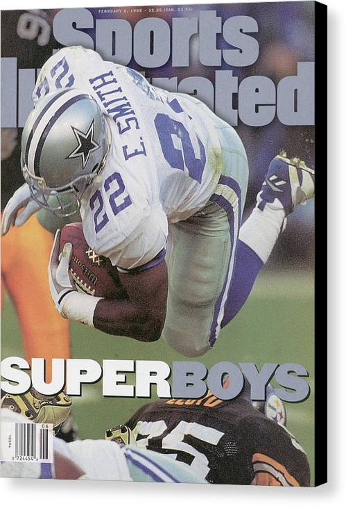 Emmitt Smith Canvas Print featuring the photograph Dallas Cowboys Emmitt Smith, Super Bowl Xxx Sports Illustrated Cover by Sports Illustrated