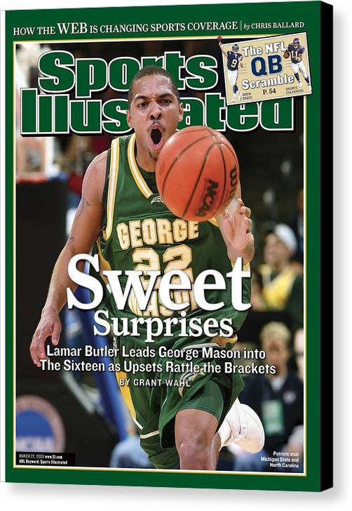 Michigan State University Canvas Print featuring the photograph George Mason Lamar Butler, 2006 Ncaa Playoffs Sports Illustrated Cover by Sports Illustrated