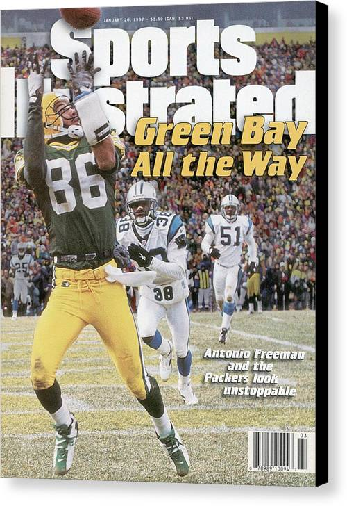 Magazine Cover Canvas Print featuring the photograph Green Bay Packers Antonio Freeman, 1997 Nfc Championship Sports Illustrated Cover by Sports Illustrated