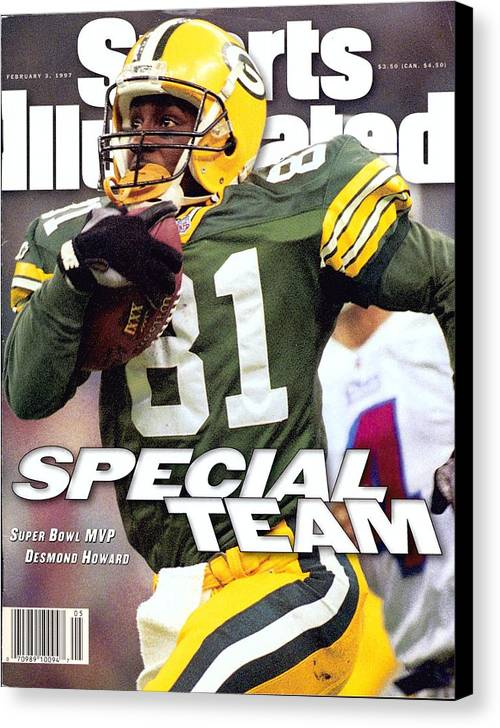 New England Patriots Canvas Print featuring the photograph Green Bay Packers Desmond Howard, Super Bowl Xxxi Sports Illustrated Cover by Sports Illustrated