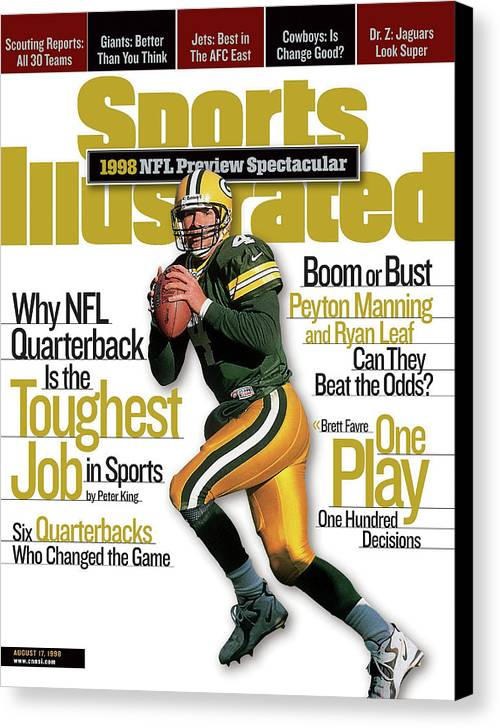 Green Bay Canvas Print featuring the photograph Green Bay Packers Qb Brett Favre, 1998 Nfl Football Preview Sports Illustrated Cover by Sports Illustrated