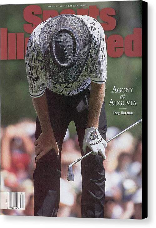 Magazine Cover Canvas Print featuring the photograph Greg Norman, 1996 Masters Sports Illustrated Cover by Sports Illustrated