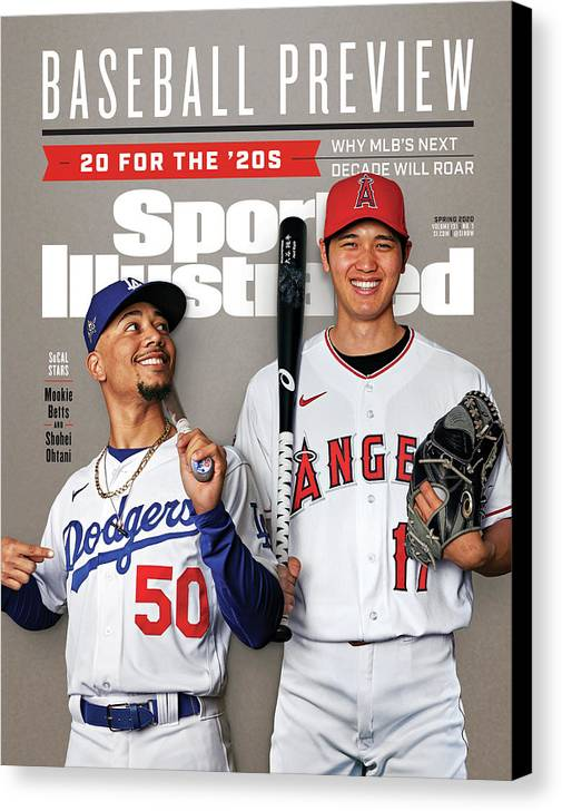 Magazine Cover Canvas Print featuring the photograph Los Angeles Dodgers Mookie Betts And Los Angeles Angels Sports Illustrated Cover by Sports Illustrated