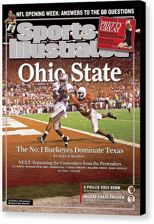 Magazine Cover Canvas Print featuring the photograph Ohio State Ted Ginn Jr... Sports Illustrated Cover by Sports Illustrated