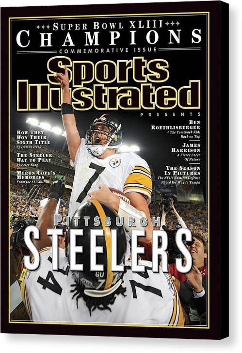 Magazine Cover Canvas Print featuring the photograph Pittsburgh Steelers Qb Ben Roethlisberger, Super Bowl Xliii Sports Illustrated Cover by Sports Illustrated
