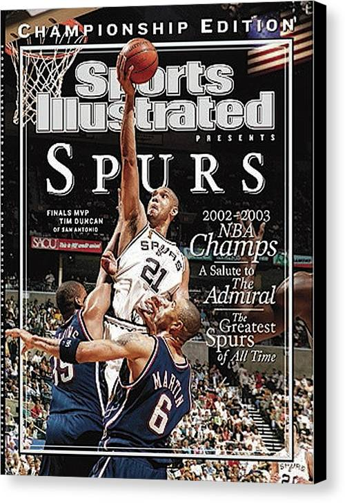 Kenyon Martin Canvas Print featuring the photograph San Antonio Spurs Tim Duncan, 2003 Nba Finals Sports Illustrated Cover by Sports Illustrated
