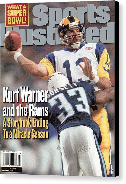 Atlanta Canvas Print featuring the photograph St. Louis Rams Qb Kurt Warner, Super Bowl Xxxiv Sports Illustrated Cover by Sports Illustrated
