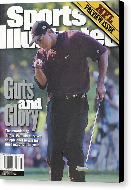 Magazine Cover Canvas Print featuring the photograph Tiger Woods, 2000 Pga Championship Sports Illustrated Cover by Sports Illustrated