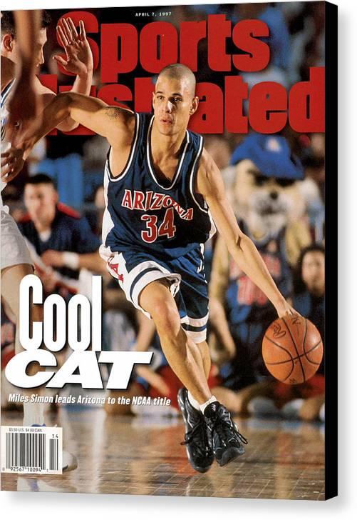 Sports Illustrated Canvas Print featuring the photograph University Of Arizona Miles Simon, 1997 Ncaa National Sports Illustrated Cover by Sports Illustrated