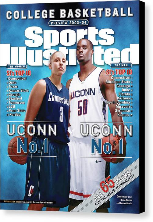 Magazine Cover Canvas Print featuring the photograph University Of Connecticut Diana Taurasi And Emeka Okafor Sports Illustrated Cover by Sports Illustrated