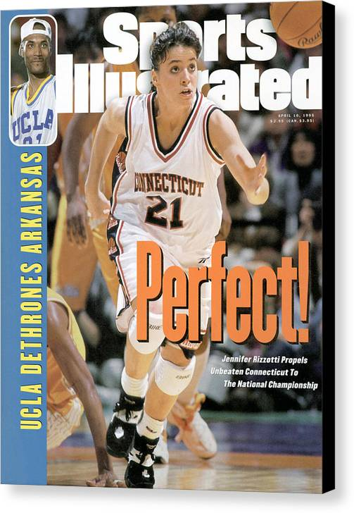 Magazine Cover Canvas Print featuring the photograph University Of Connecticut Jennifer Rizzotti, 1995 Ncaa Sports Illustrated Cover by Sports Illustrated