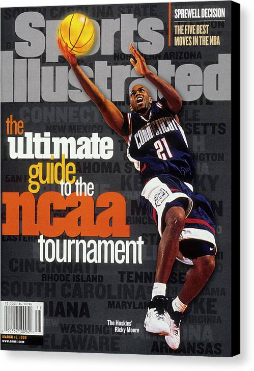 Sports Illustrated Canvas Print featuring the photograph University Of Connecticut Ricky Moore, 1997 Ncaa Tournament Sports Illustrated Cover by Sports Illustrated