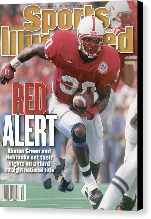 Michigan State University Canvas Print featuring the photograph University Of Nebraska Ahman Green Sports Illustrated Cover by Sports Illustrated