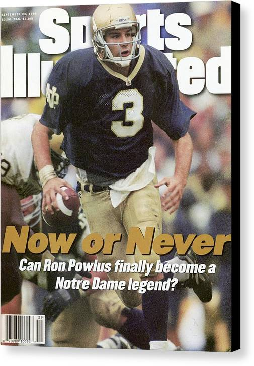 Sports Illustrated Canvas Print featuring the photograph University Of Notre Dame Qb Ron Powlus Sports Illustrated Cover by Sports Illustrated