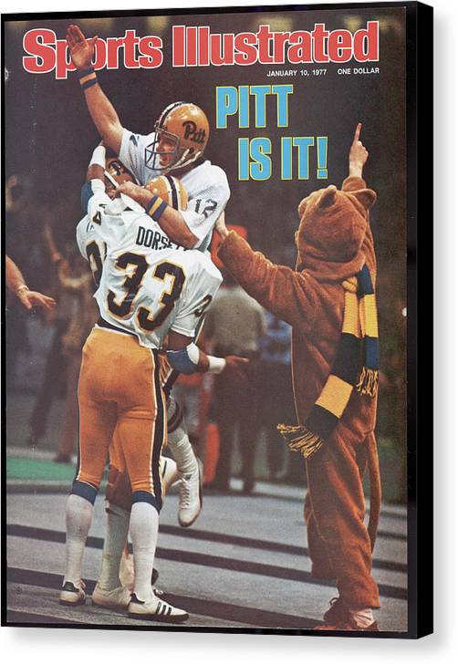 Magazine Cover Canvas Print featuring the photograph University Of Pittsburgh Qb Matt Cavanaugh, 1977 Sugar Bowl Sports Illustrated Cover by Sports Illustrated