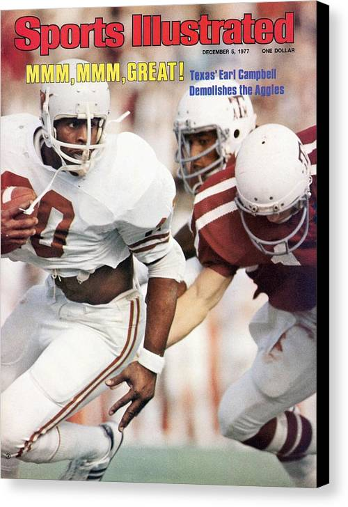 Magazine Cover Canvas Print featuring the photograph University Of Texas Earl Campbell Sports Illustrated Cover by Sports Illustrated