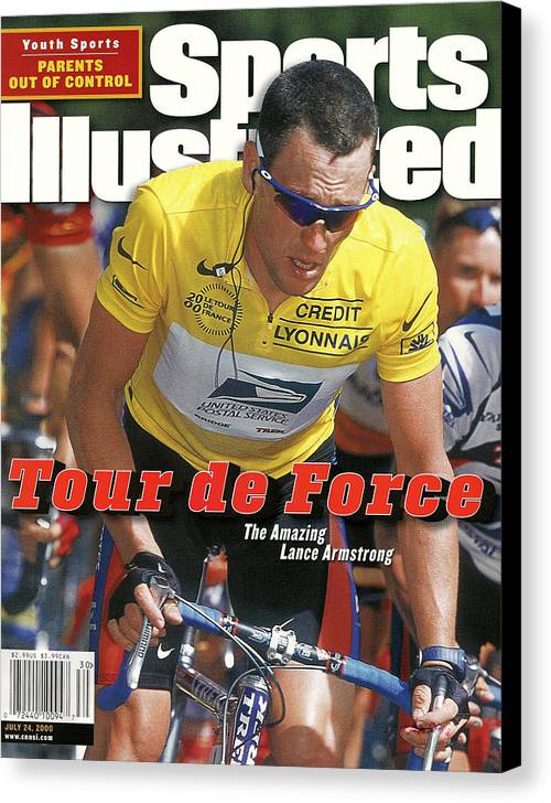 Magazine Cover Canvas Print featuring the photograph Us Postal Service Team Lance Armstrong, 2000 Tour De France Sports Illustrated Cover by Sports Illustrated