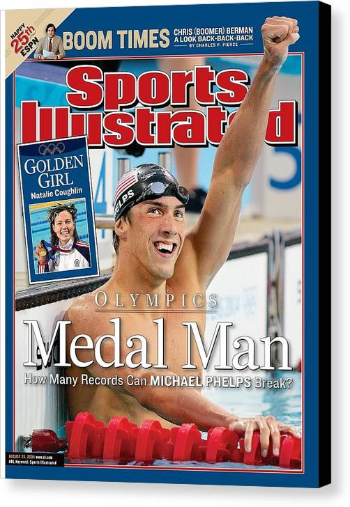 Magazine Cover Canvas Print featuring the photograph Usa Michael Phelps, 2004 Summer Olympics Sports Illustrated Cover by Sports Illustrated