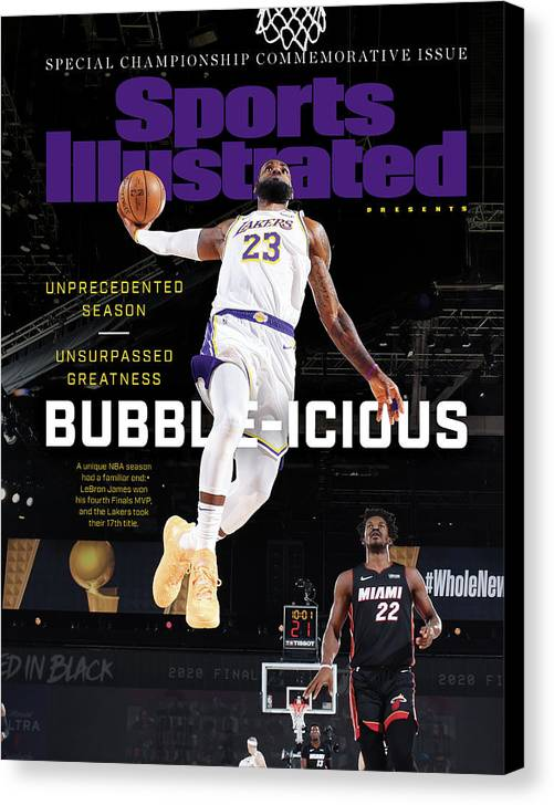 Nba Canvas Print featuring the photograph Bubble-icious Los Angeles Lakers NBA Championship Sports Illustrated Cover by Sports Illustrated