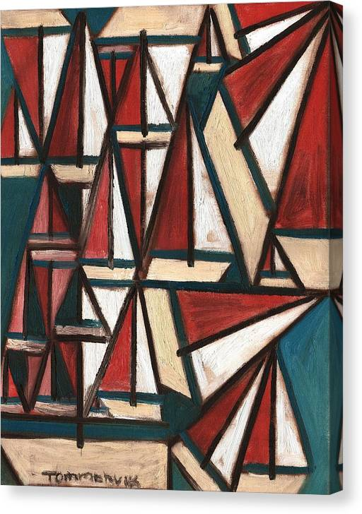 Boating Canvas Print featuring the painting Tommervik Abstract Sailboats Art print by Tommervik