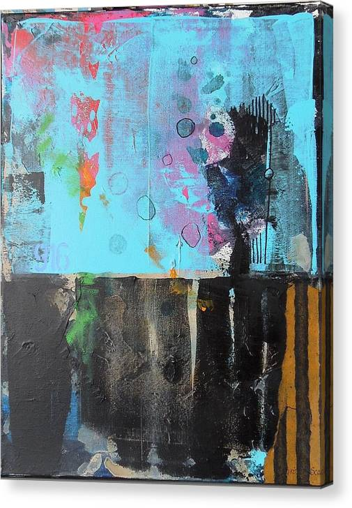 Abstract Mixed Media Collage On Canvas Canvas Print featuring the mixed media Nine One Six by Jo Ann Brown-Scott