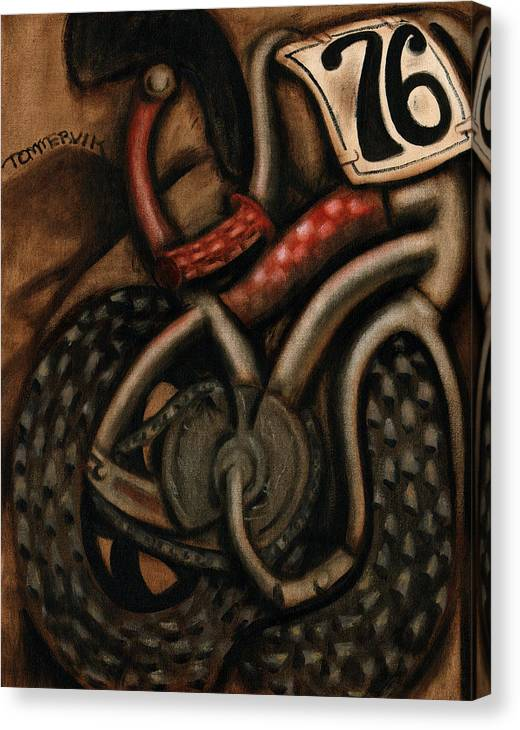 Bmx Canvas Print featuring the painting BMX Racing Bike Art Print by Tommervik
