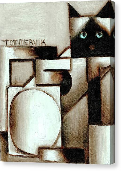 Cat Canvas Print featuring the painting Tommervik Abstract Siamese Cat Art Print by Tommervik