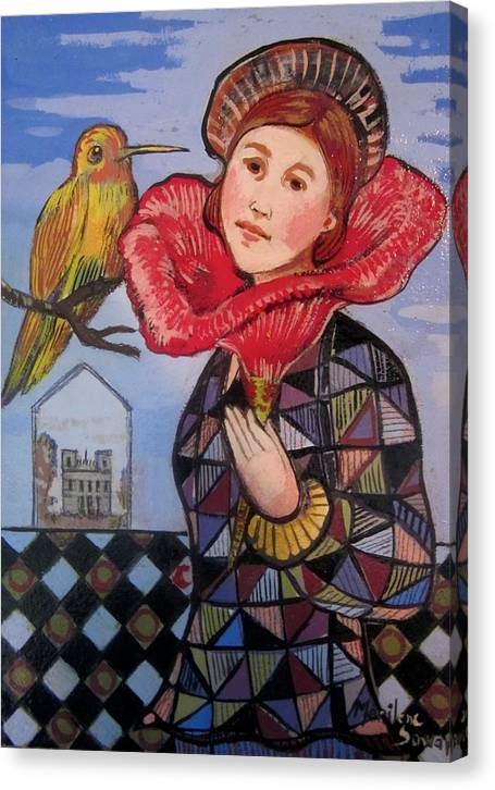 Surrealist Canvas Print featuring the painting Flower Girl With Bird by Marilene Sawaf