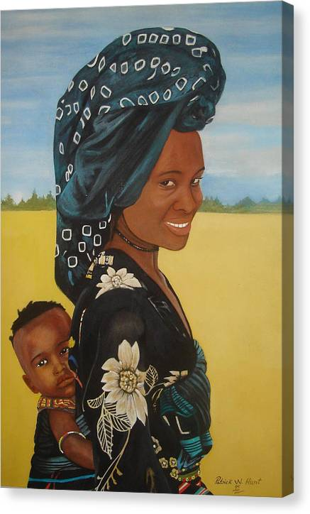 African Mother And Child Canvas Print featuring the painting Mother And Child by Patrick Hunt