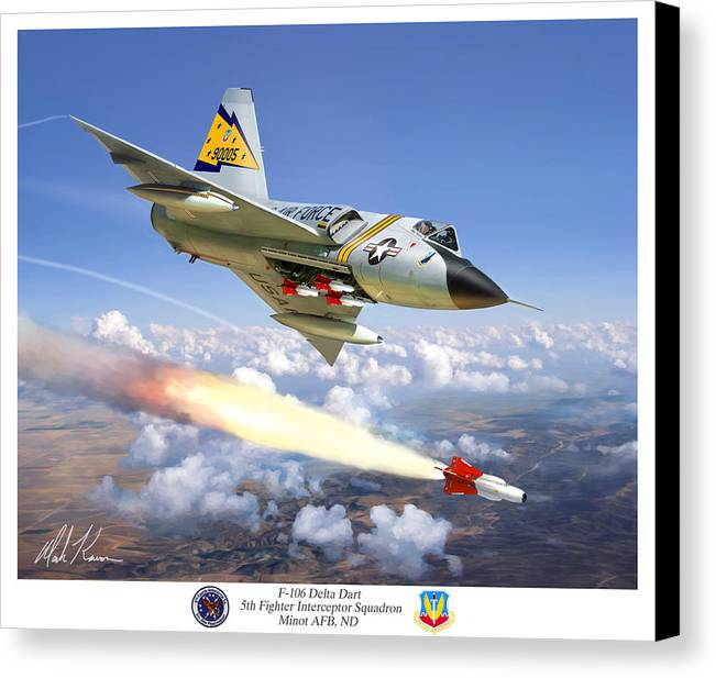 Aviation Canvas Print featuring the painting F-106 Delta Dart 5th Fis by Mark Karvon