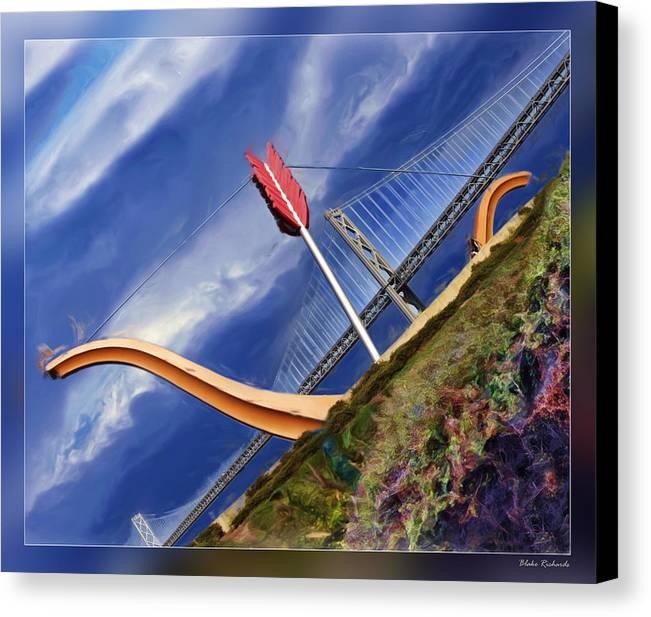 Art Photography Canvas Print featuring the photograph Arrow Through Bay Bridge by Blake Richards