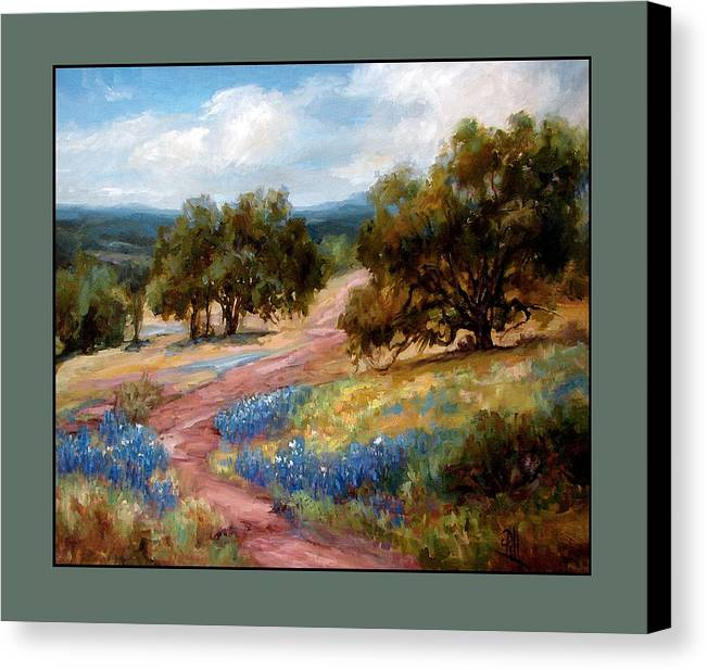 Texas Landscape Hill Country Bluebonnets Canvas Print featuring the painting A Few Bluebonnets by Lilli Pell