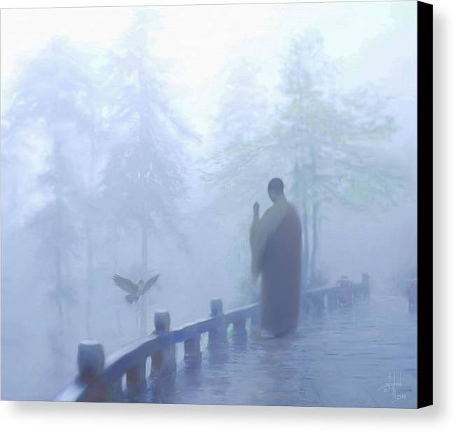 Spiritual. Temple Canvas Print featuring the digital art The Temple Calling by Stephen Lucas