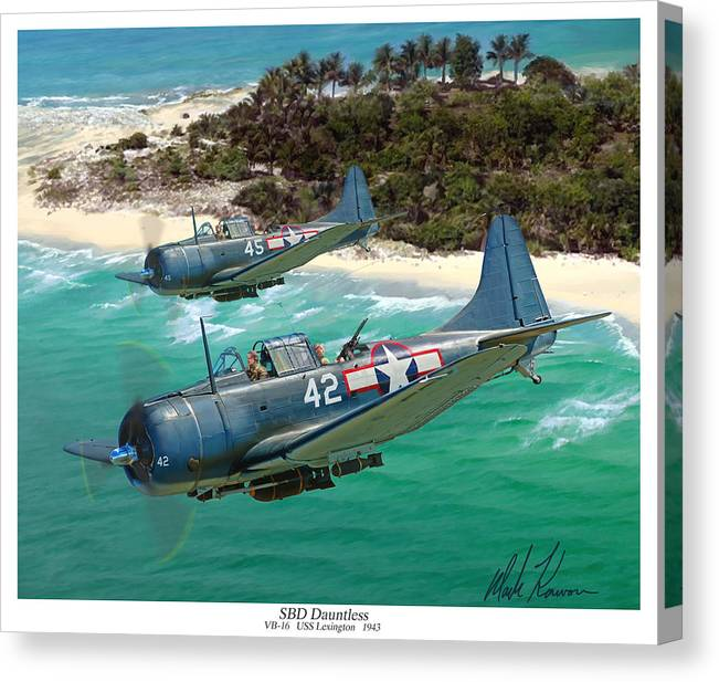 Aviation Canvas Print featuring the painting Sbd Dauntless by Mark Karvon