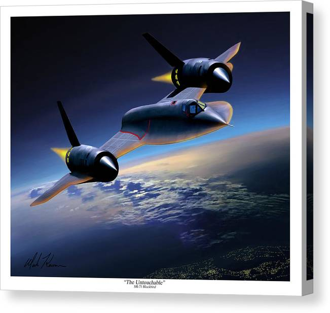 Airplane Canvas Print featuring the painting The Untouchable Sr-71 Blackbird by Mark Karvon