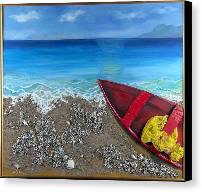 Seascape Canvas Print featuring the painting Serenity by Helene Lagoudakis