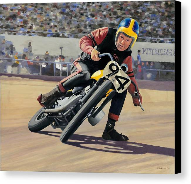 Motorcycle Canvas Print featuring the painting George Roeder 1965 by James Robertson